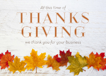 Fall Leaf Line-up Business Thanksgiving Card